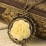 Vintage Unique Bronze classic Flower style long necklace