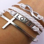 Fashion Infinite Bracelet Cross Bangle White Leather Knit Rope Love Punk