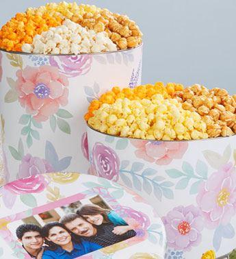 Fancy Floral Popcorn Tins